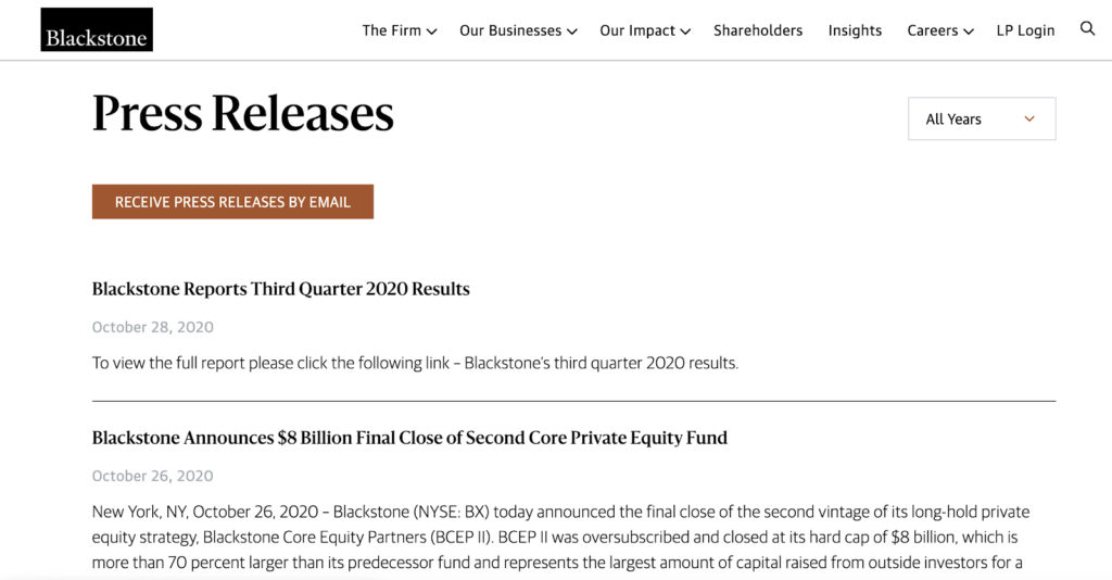 screenshot of blackstones press release page content marketing investment banking