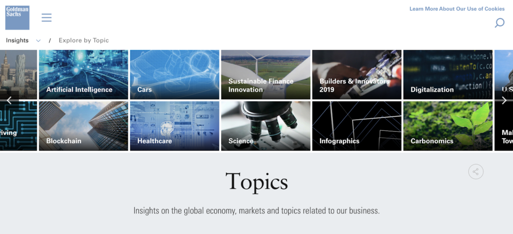 screenshot of the topics on goldman sachs website, example of content marketing for investment banking