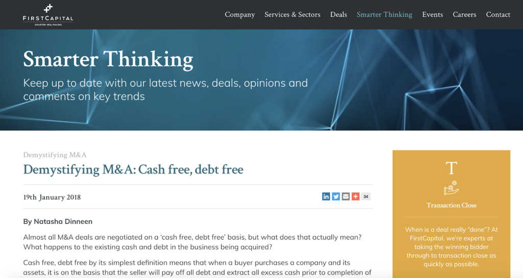 screenshot of first capital insights page