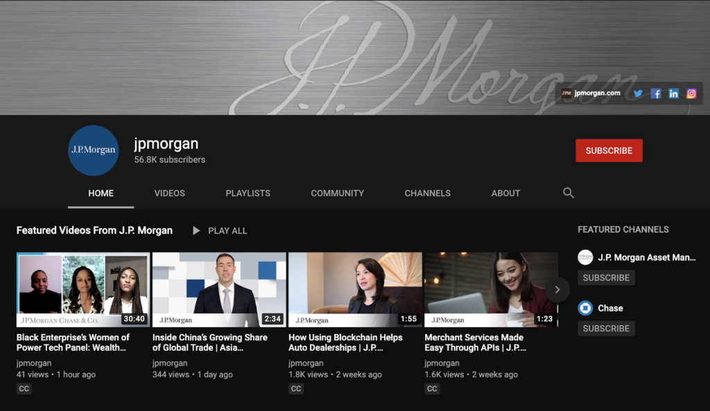 screenshot of youtube page jp morgan example of content marketing for investment banking firms