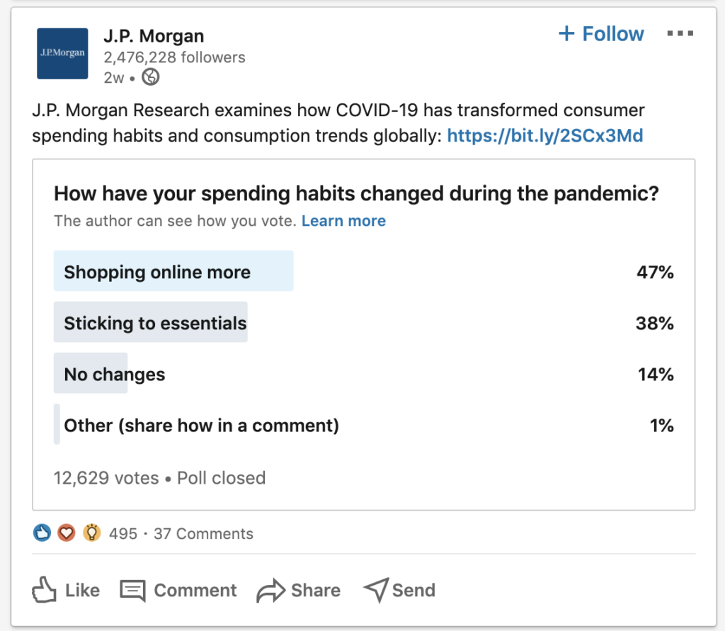 a poll on JP Morgan's linkedin page content marketing investment banking