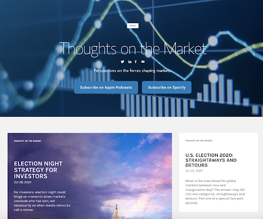 screenshot of the thought market podcast on morgan stanley's website example of content marketing investment banking