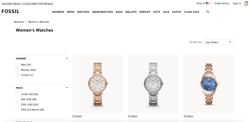 Fossil's page that ranks number one for watches for women