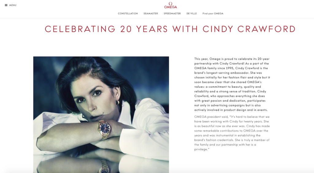 screenshot of a news article about their partnership with cindy Crawford
