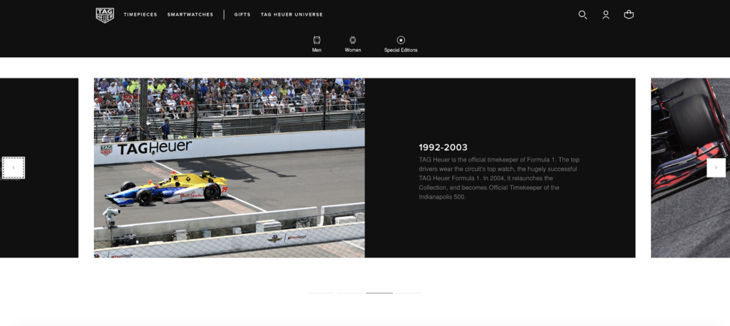 screenshot of a timeline of Tag Heuer and F1's partnership