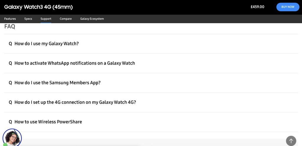 screenshot of Samsung's FAQ blogs