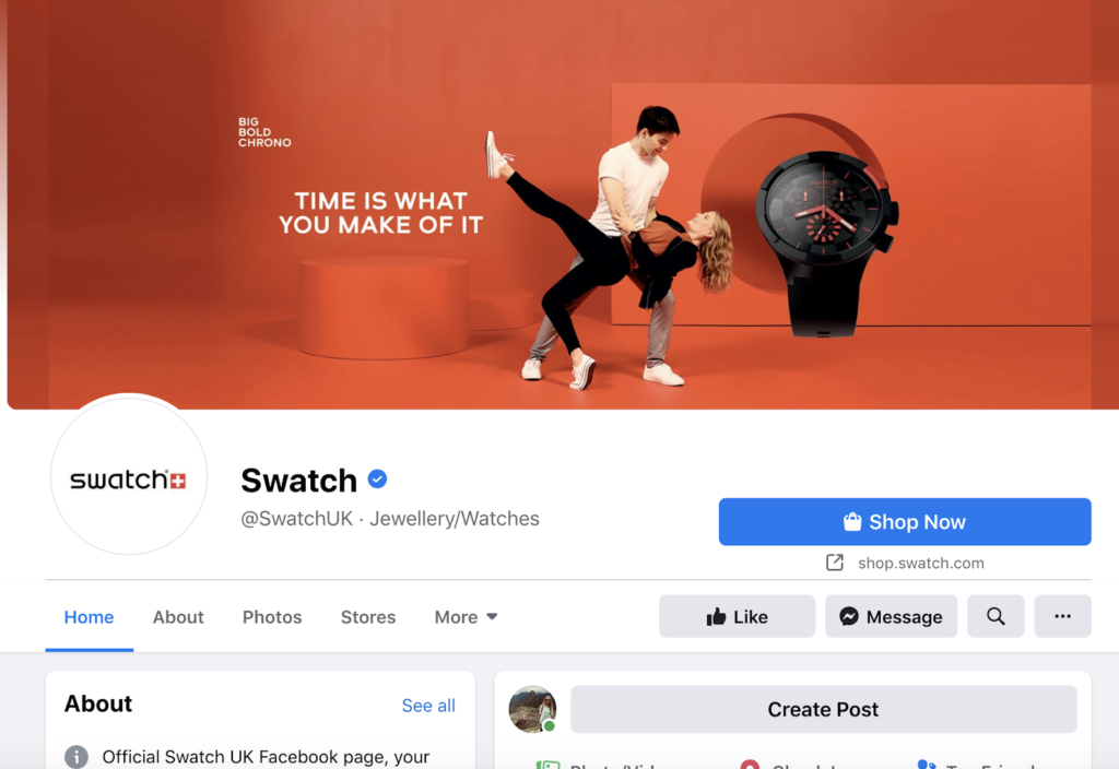 swatch's facebook page