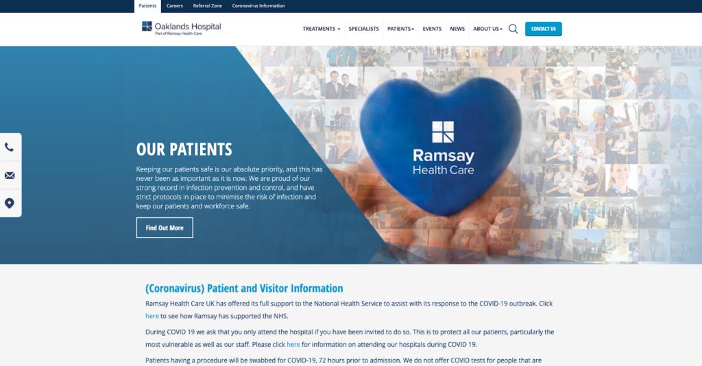 Oaklands Hospital website