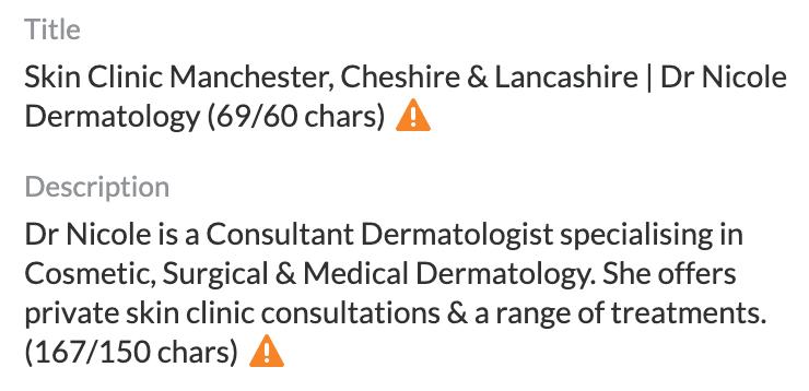 page title and description dr nicole dermatology website
