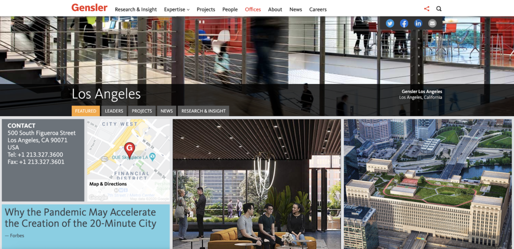 screenshot of Genseler New York office page (content lessons architecture firms)
