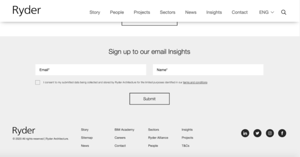 email sign up on ryder's homepage (content lessons architecture firms)