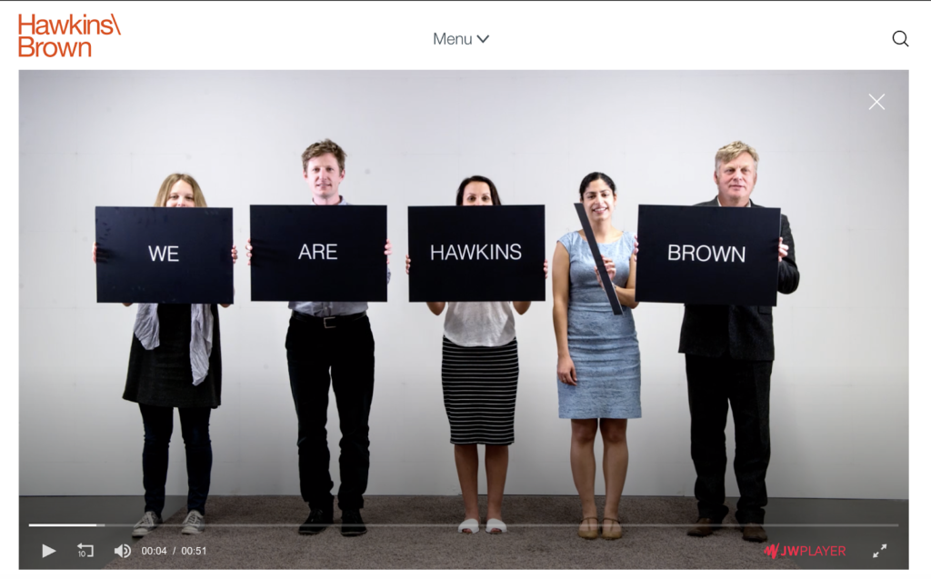 hawkins/brown homepage with a video