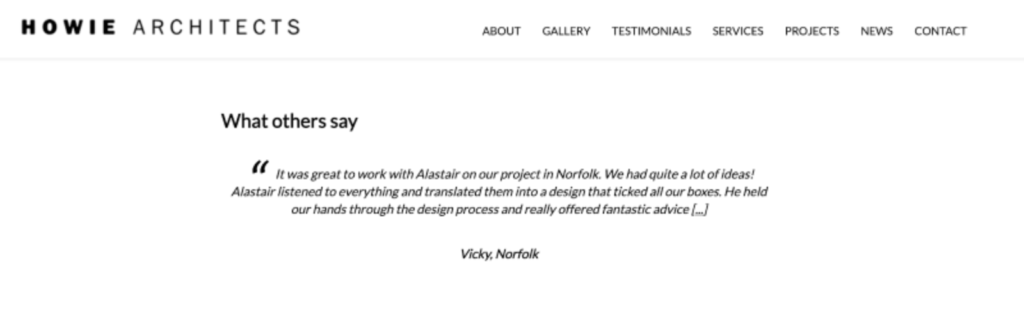an example of an online review from howie architects (content lessons architecture firms article)