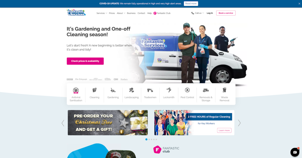 Fantastic Services homepage