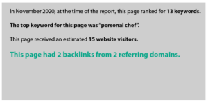In November 2020, at the time of the report, this page ranked for 13 keywords.