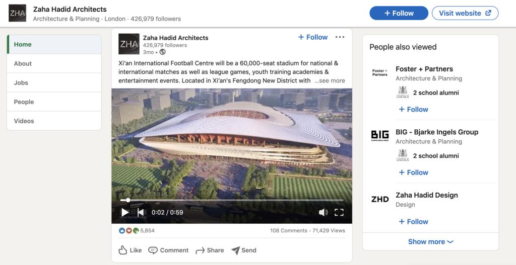 Zahia Hadid architects linkedin page