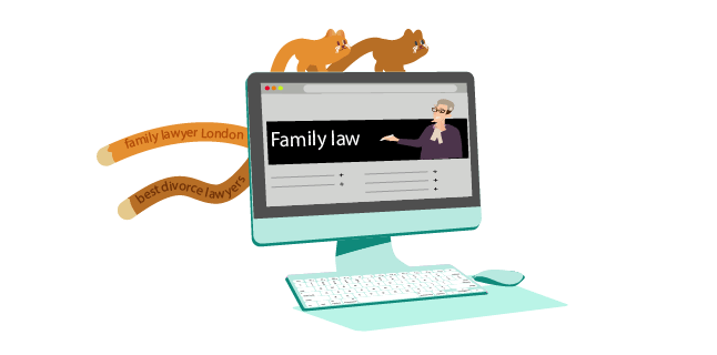 Image: Create specific pages from short tail keywords: family lawyer London / best divorce lawyers