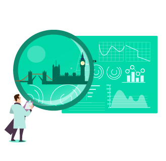 SEO competitor analysis architects in london. Architect with a large looking glass looking at a graph. In the centre of the looking glass iis a silhouetted image of the London skyline