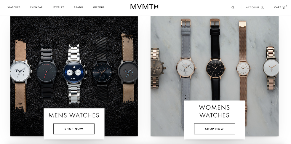 MVMT image of their website and watches