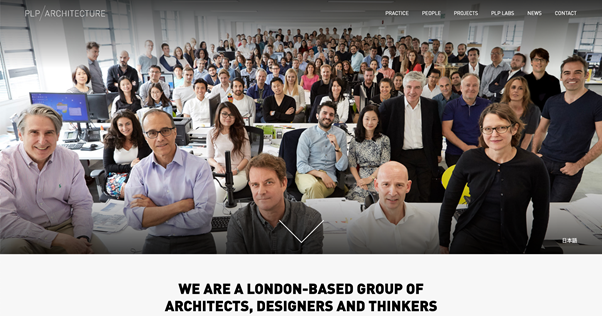 PLP Architecture homepage, seo competitor analysis for keyword architects in london