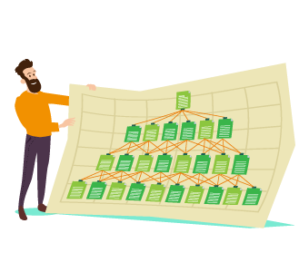 sitemaps - man in ornage jumper holding a traditional map with images of webpages and how they connect