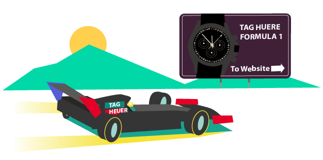 Image: Tag Heuer/Formula 1 theme to drive traffic - content marketing watch brands