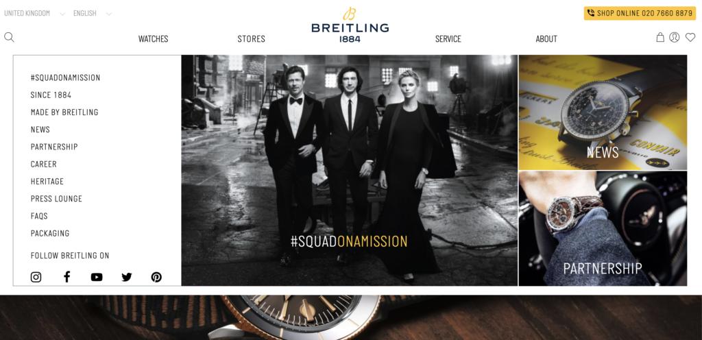 screenshot of Brietling's website