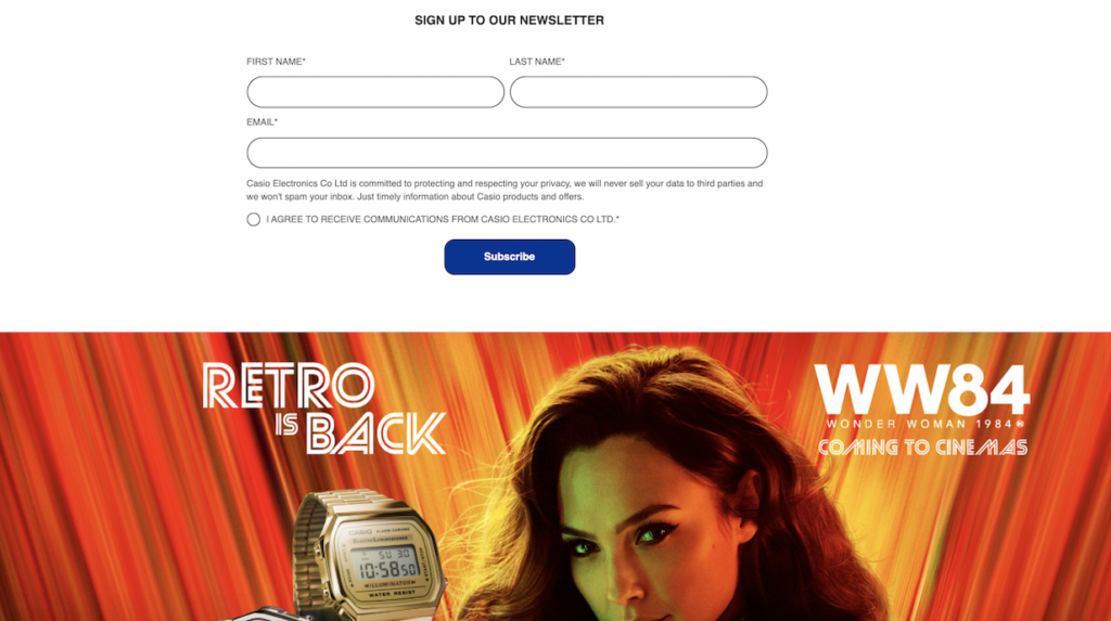 Casio's homepage with newsletter sign up