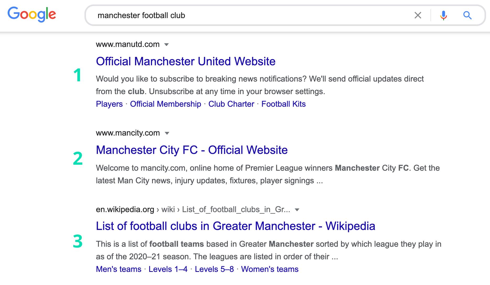 google search manchester football club