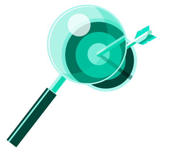 Competitor Analysis magnifying glass showing arrow in the centre of a target