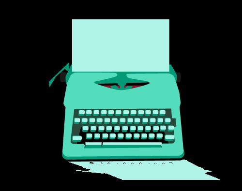 typewriter in green
