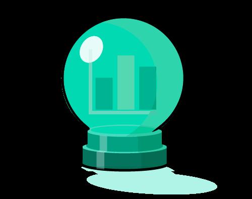 graph inside crystal ball