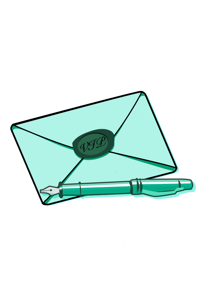 outreach - envelope with VIP sticker on it and fountain pen nearby