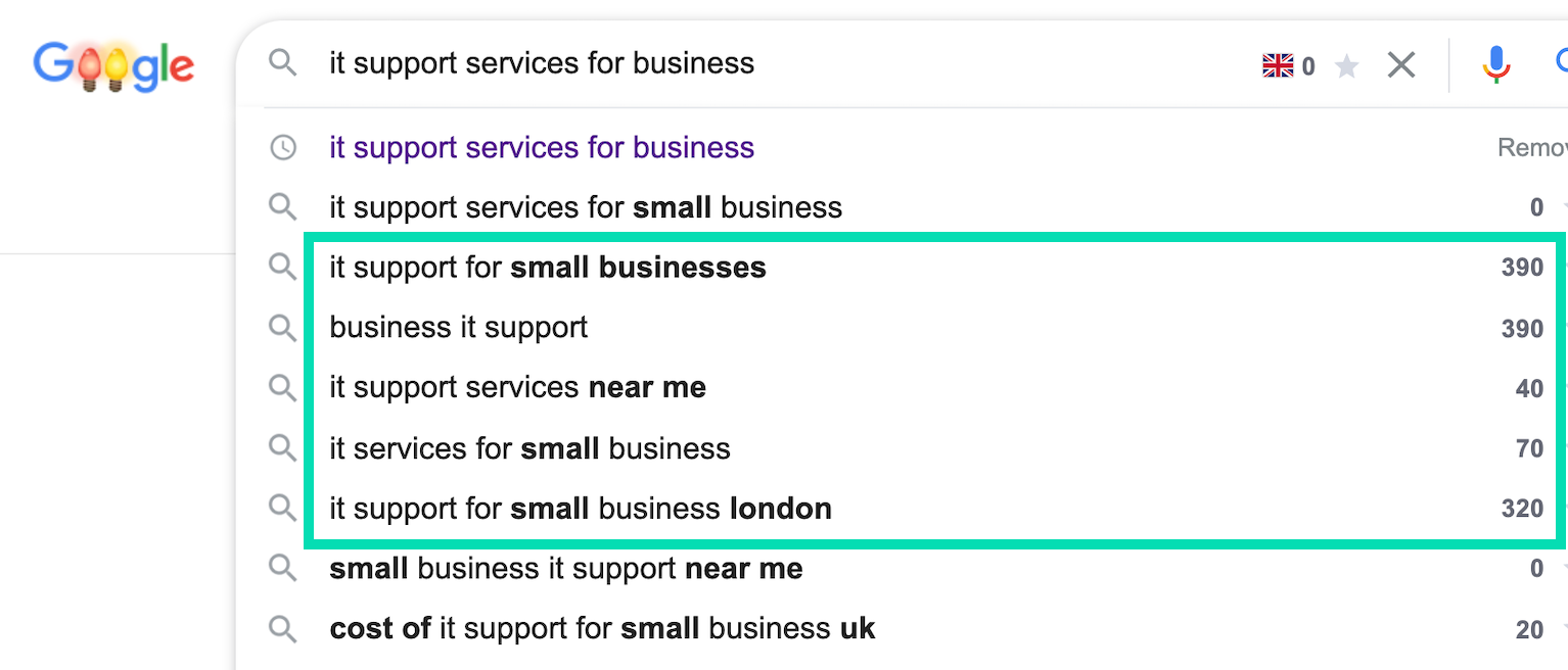 keyword search for 'it support services for business'