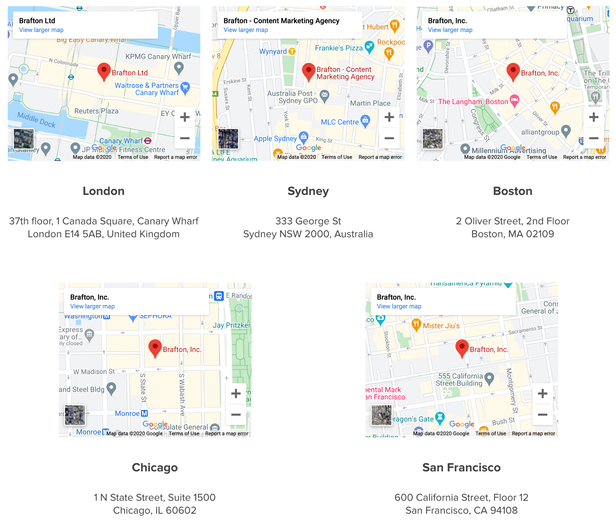 multiple locations for content company