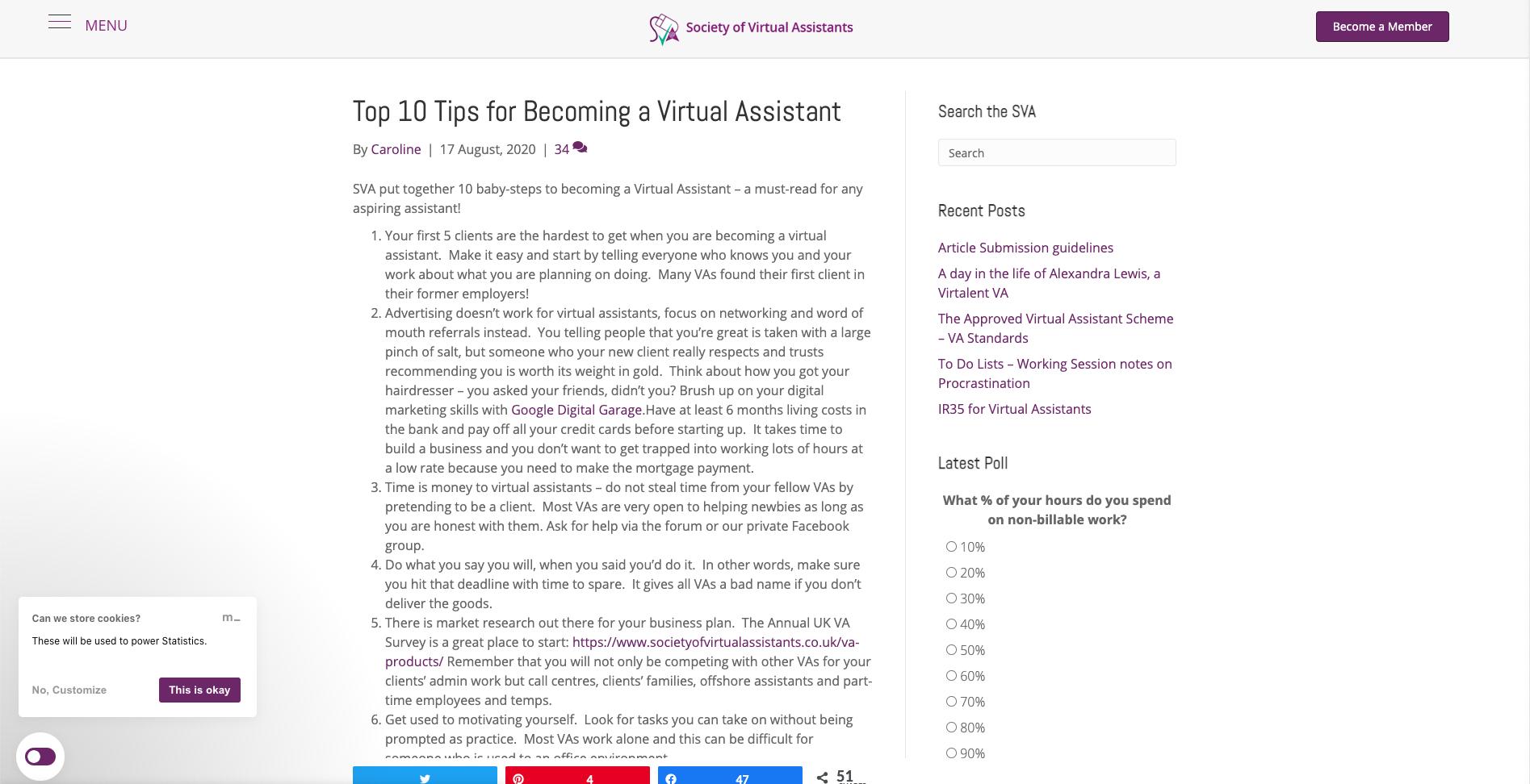 Content examples in VA industry
