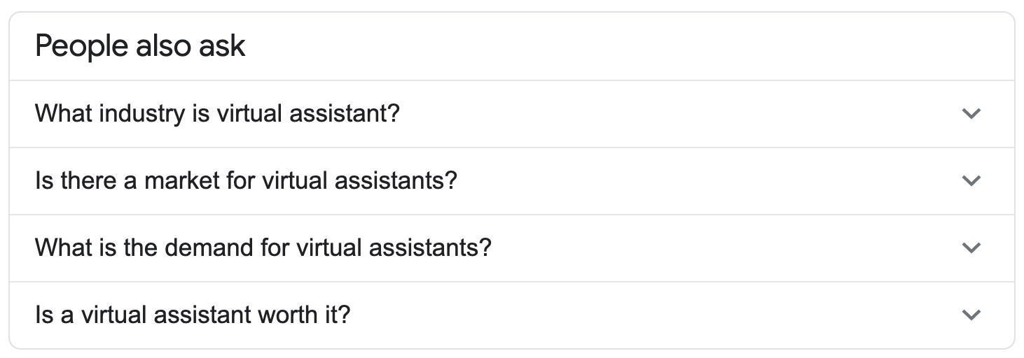 People also ask on Google list