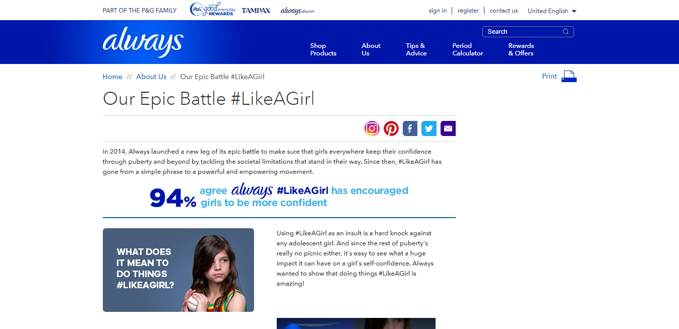 Always Like a Girl Marketing Campaign - example of Good content