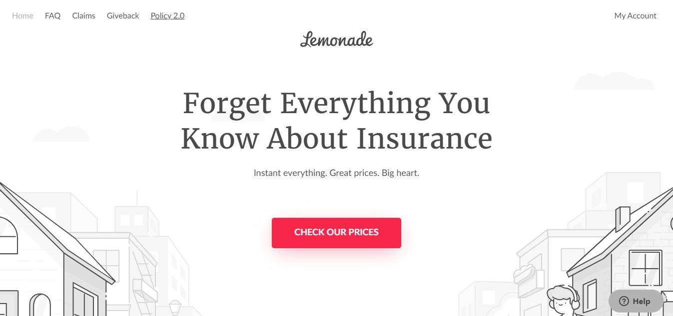 Good Content Marketing Examples Lemonade Insurance Website