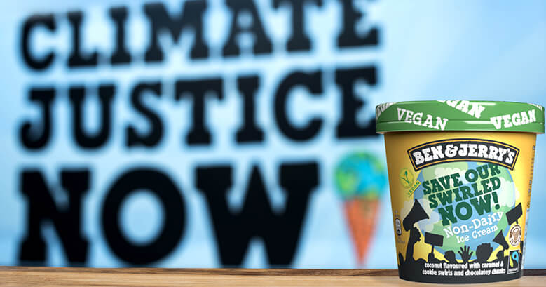 Ben & Jerry's climate justice now campaign - image of Ben & Jerry's tub of icecream called Save our Swirled Now - defining a brand enemy
