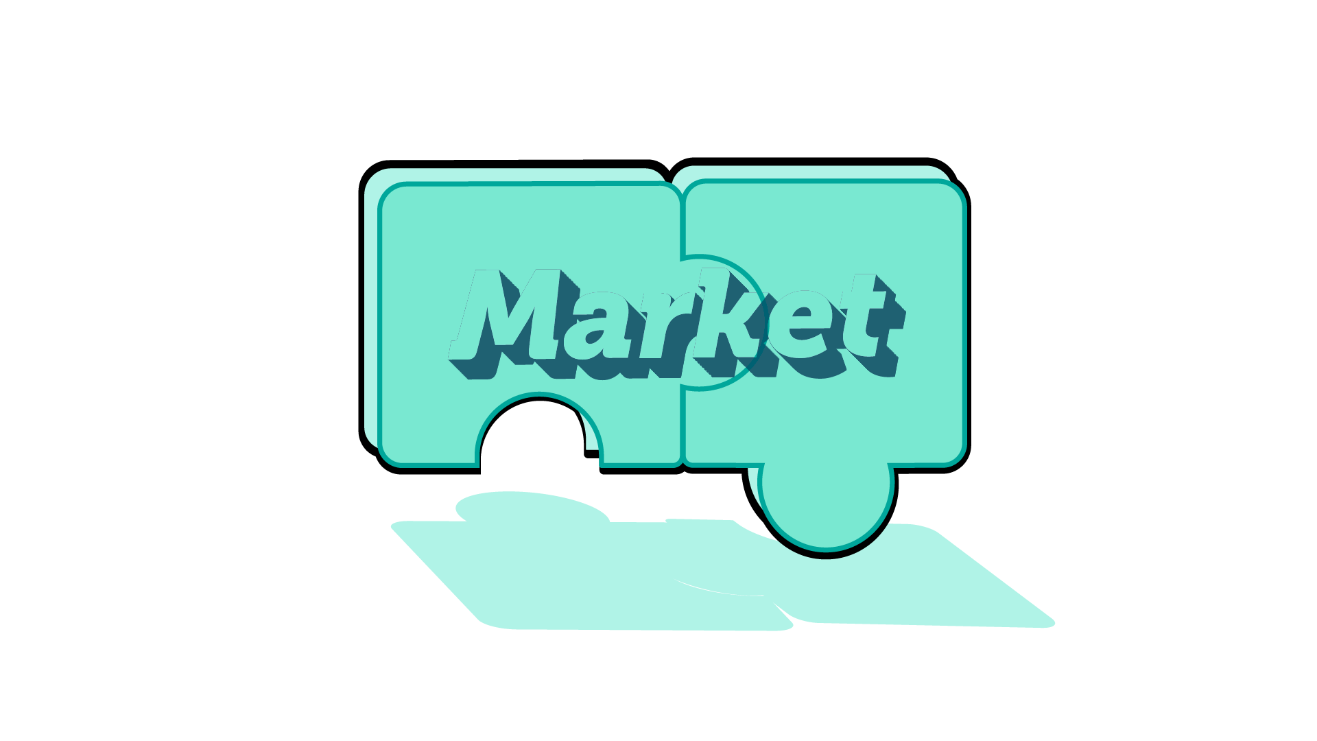IMAGE: Connections puzzle pieces fitting together to spell the word 'Market'