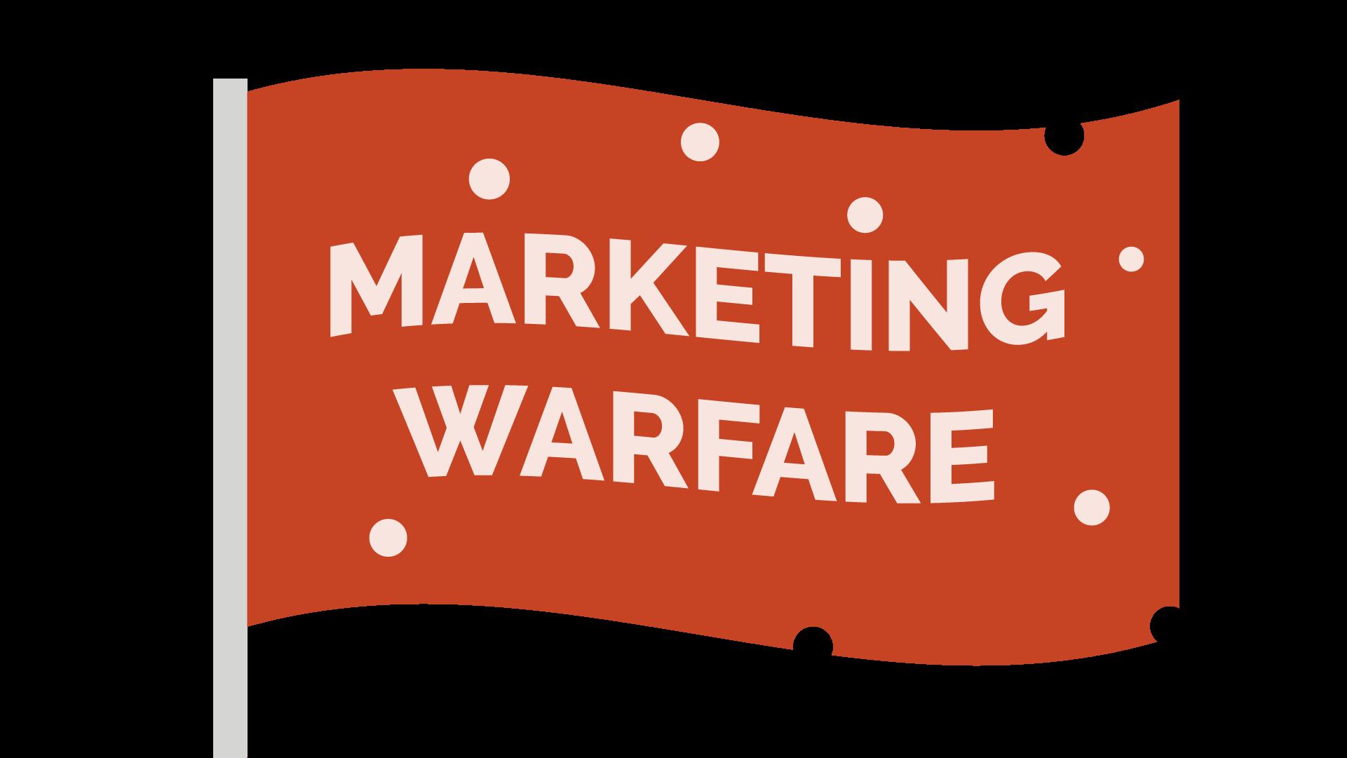 marketing warfare - orange flag full of bullet holes that reads 'Marketing Warfare'