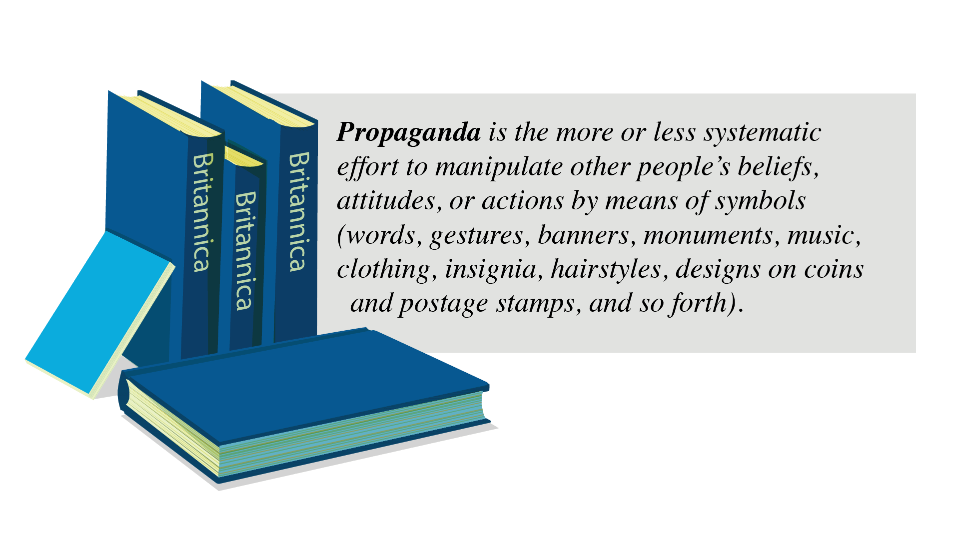 Blue encyclopedias stacked alongside text quote of the description and definition of propaganda: Britannica defines propaganda as follows: Propaganda is the more or less systematic effort to manipulate other people's beliefs, attitudes, or actions by means of symbols (words, gestures, banners, monuments, music, clothing, insignia, hairstyles, designs on coins and postage stamps, and so forth). Deliberateness and a relatively heavy emphasis on manipulation distinguish propaganda from casual conversation or the free and easy exchange of ideas. Propagandists have a specified goal or set of goals. To achieve these, they deliberately select facts, arguments, and displays of symbols and present them in ways they think will have the most effect.