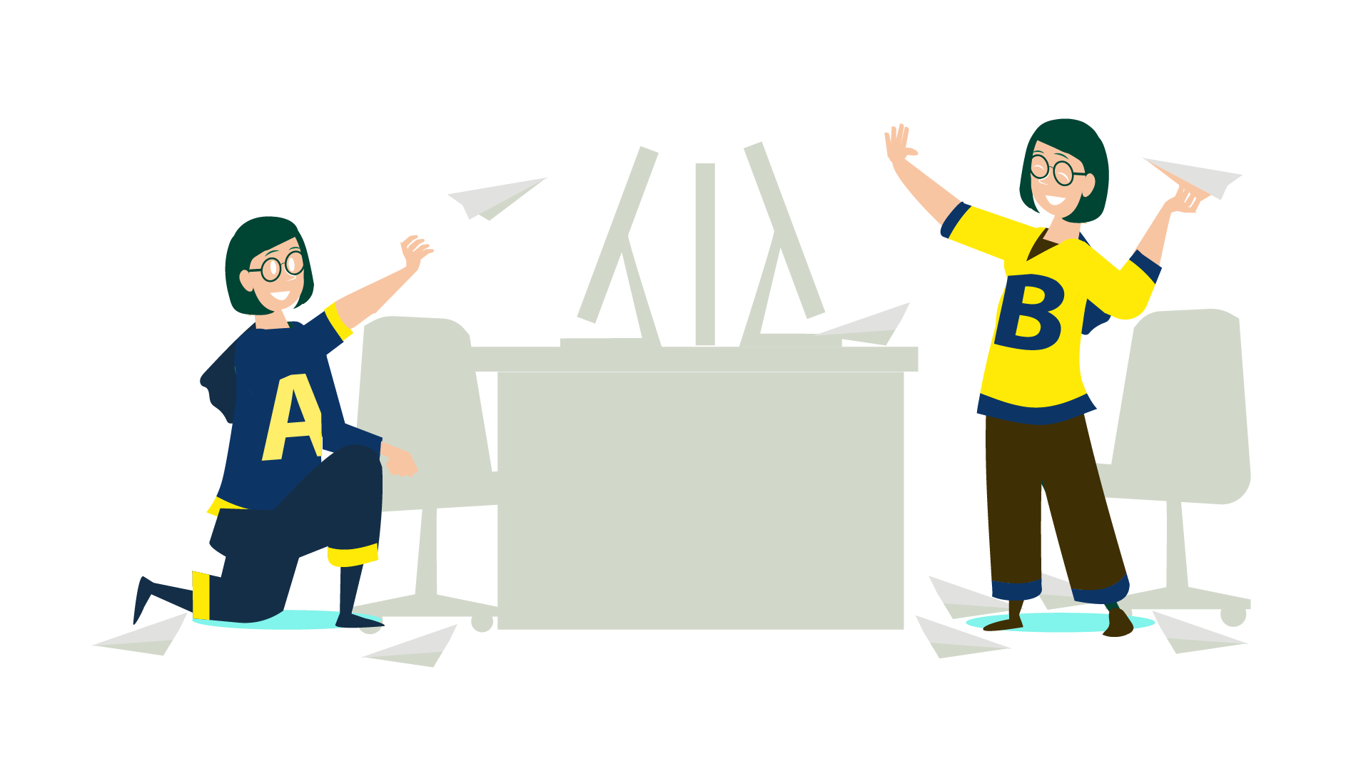 Two women wearing inverse colours throwing paper planes at one another from their respective desks. Defining an enemy isn't the be all and end all of devising a successful marketing campaign. In fact, enemy-centric marketing is at its best when combined with other motivational forces