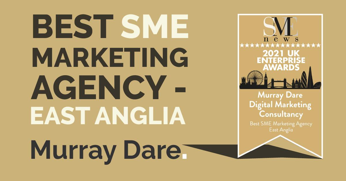marketing award announcement - best SME marketing agency - east anglia Murray Dare