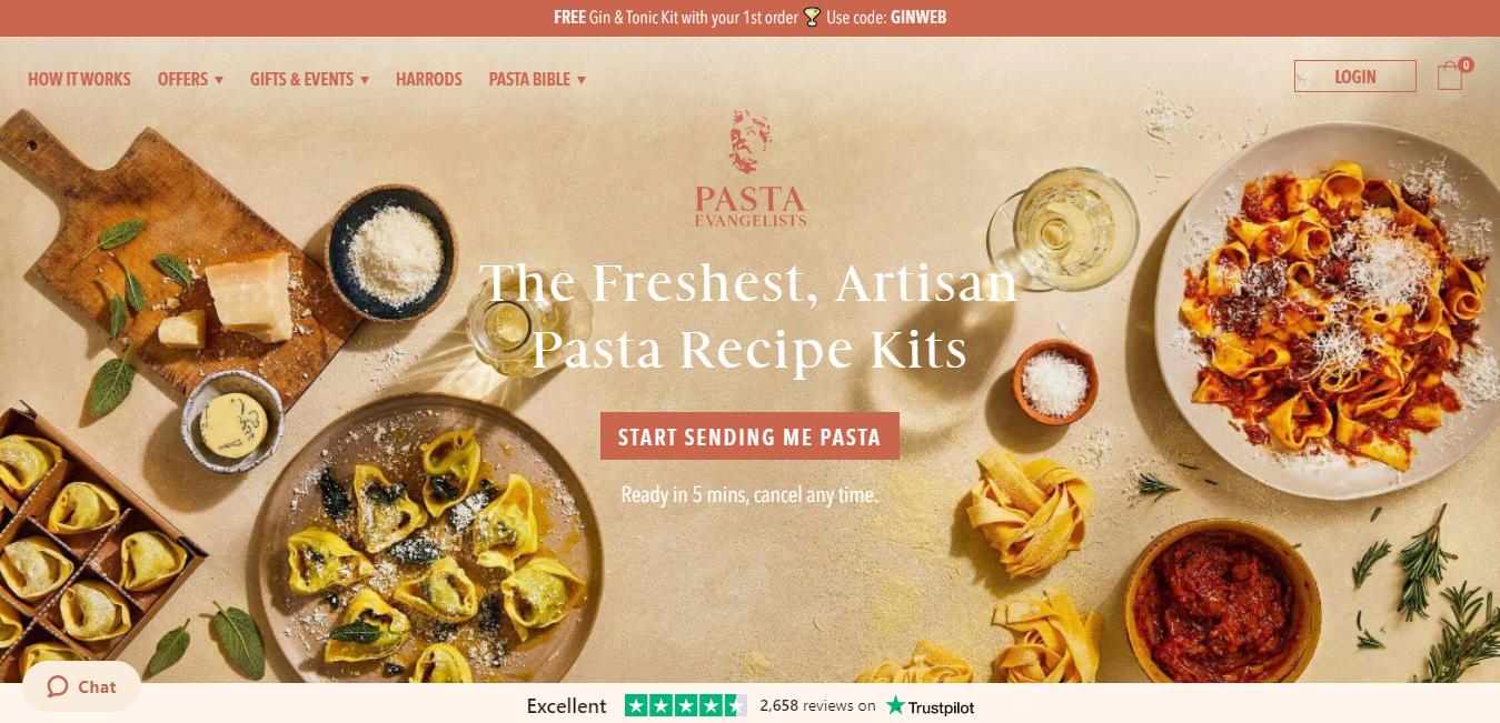 strong and weak ties pasta evangelist homepage screenshot
