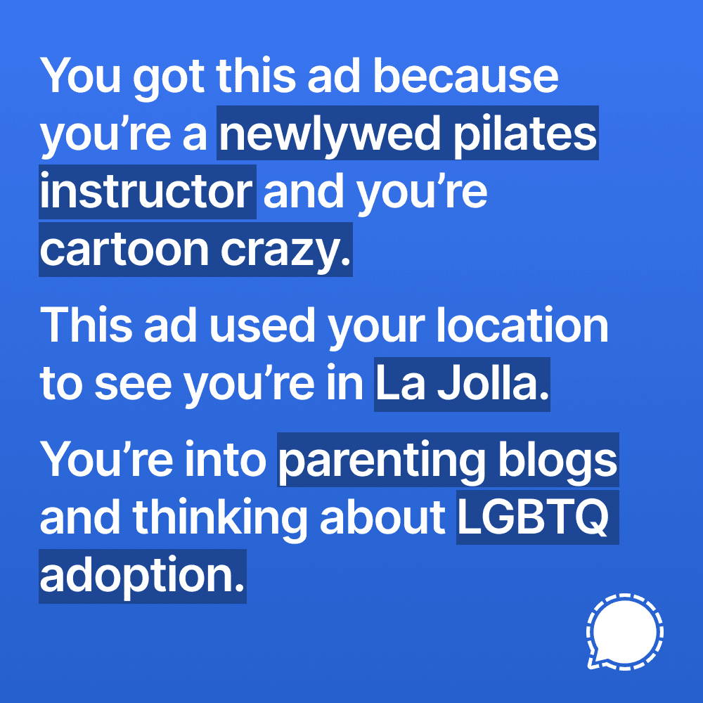 Sigmal Facebook Privacy ad campaign - defining an enemy for your brand