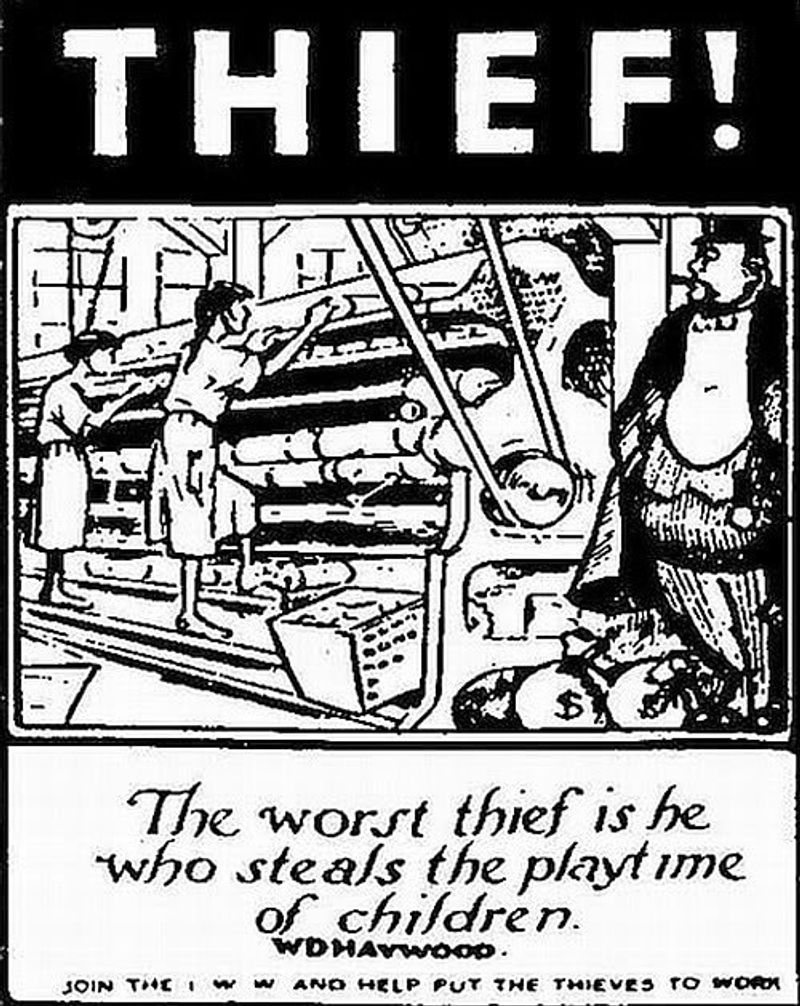 thief enemy centric marketing - why defining an enemy is important for your brand - This poster from 1912 depicts the exploitation of children in textile mills and is an example of explicit enemy definition in a campaign. This image was released by the Industrial Workers of the World (I.W.W) and encourages its audience to join them.