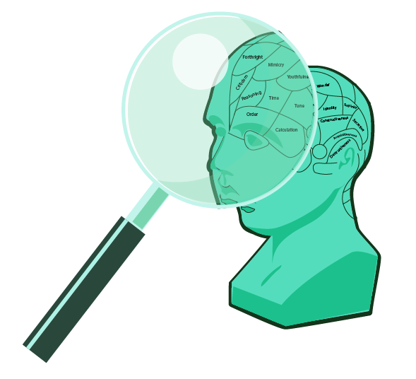 marketing theory and marketing psychology - image of bust with magnifying glass