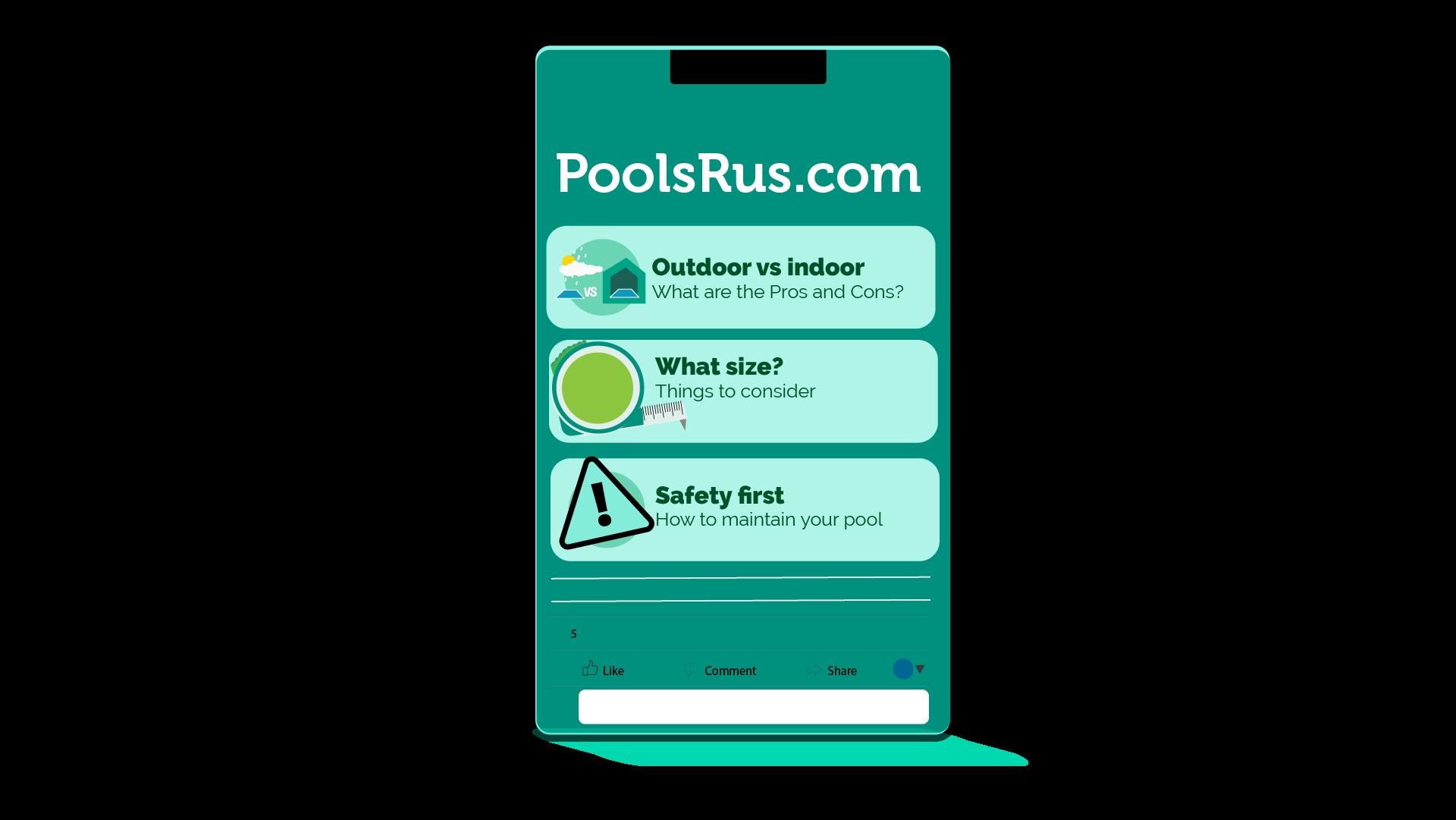 Pools r us webpage on mobile